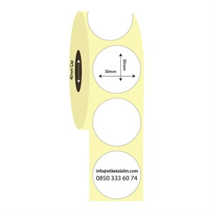 30mm x 30mm Oval Kuşe Etiket (Sticker)